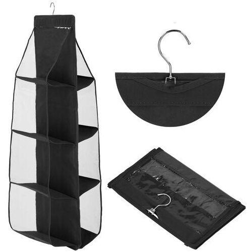 Organizer wiszący do szafy z 8 półkami na torebki czarny (5907719416991)