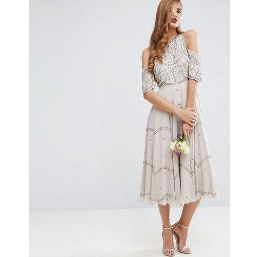 Asos design bridesmaid embellished floral cold shoulder midi dress - grey