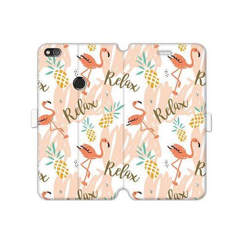 Etuo wallet book fantastic Huawei p8 lite (2017) - etui na telefon wallet book fantastic - różowe flamingi