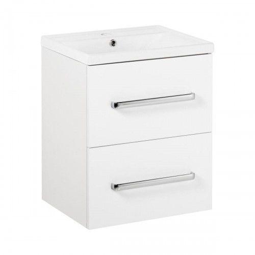 aleksander zestaw łazienkowy szafka + umywalka 60, biały połysk marki Deftrans