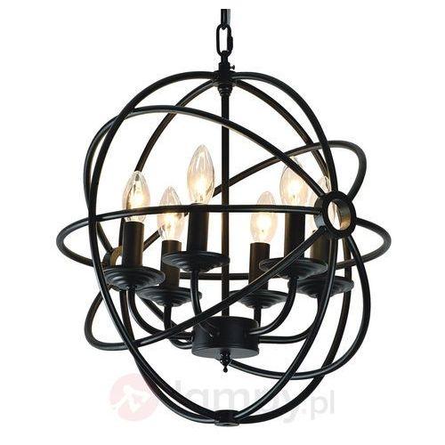Żyrandol LAMPA wisząca CAGE 9500604 Spotlight świecznikowa OPRAWA metalowy zwis klatka czarna, kolor Czarny