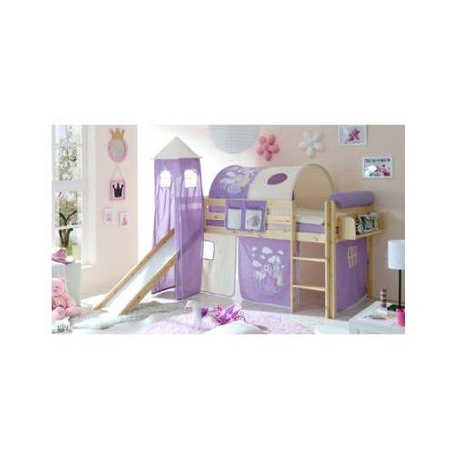 Ticaa kindermöbel Ticaa łóżko ze zjeżdżalnią i wieżą asper sosna naturalna konik (liliowy) (4250393856739)