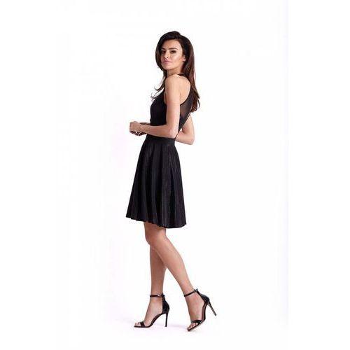 Czarna Błyszcząca Rozkloszowana Sukienka z Siateczką, rozkloszowana