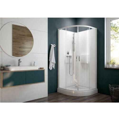 Sanplast Basic Complete KCKP4/Basic-SHP+BPza kabina prysznicowa 90 cm półokrągła szkło przezroczyste z brodzikiem i zestawem prysznicowym 602-460-0930-01-4H0, 602-460-0930-01-4H0