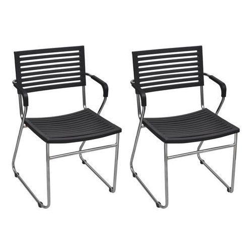 Krzesła z żelaza i plastiku, sztaplowane, 2 szt., czarne, kolor czarny
