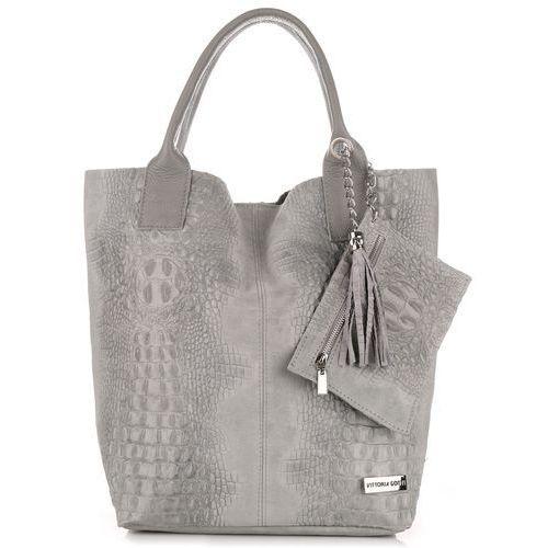 Torebki skórzane  made in italy shopper bag aligator jasno szara (kolory) marki Vittoria gotti