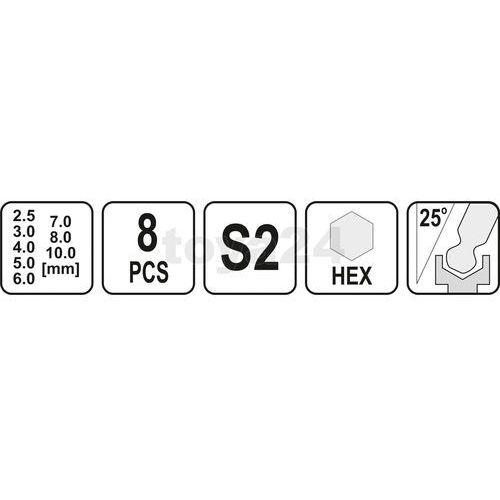 Yato Zestaw kluczy trzpieniowych hex (z kulką) z rękojeścią 8cz / yt-05597 / - zyskaj rabat 30 zł (5906083055973)