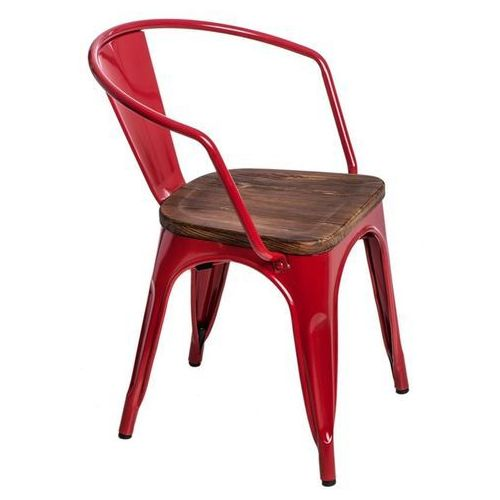 Krzesło Paris Arms Wood sosna - czerwone, kolor czerwony