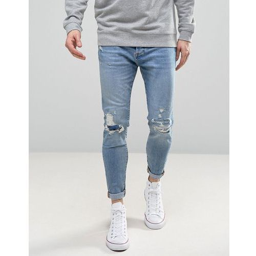Pull&Bear Carrot Fit Jeans With Rips In Light Wash - Blue, kolor niebieski