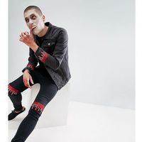 Liquor N Poker Embroidered Dripping Blood Washed Black Skinny Jeans - Black, jeansy