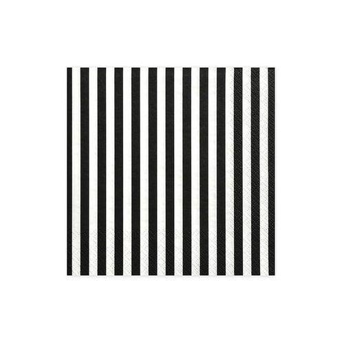 Serwetki urodzinowe białe w czarne paski - 33 cm - 20 szt. (5902230736726)
