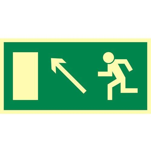 Kierunek do wyjścia drogi ewakuacyjnej w górę w lewo (znak uzupełniający) - OKAZJE