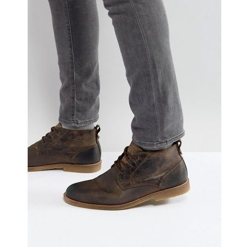 leather desert boots in light brown - brown, River island