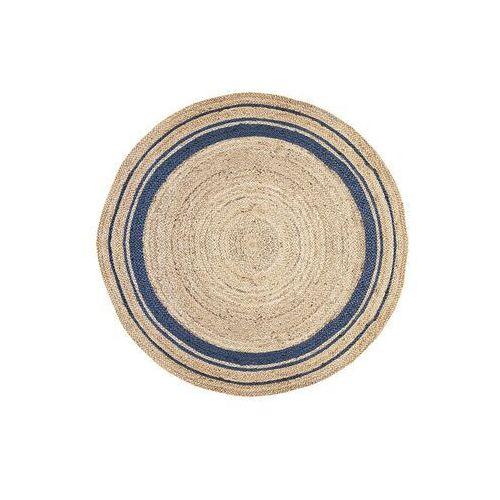 Vente-unique.pl Okrągły dywan bhopal - 100% juty - śred. 150 cm - kolor naturalny i niebieski