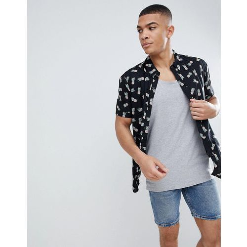 pinapple print boxy fit short sleeve shirt - black, Another influence, XS-XL