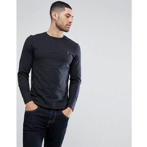 Farah Denny Slim Fit Long Sleeve Logo T-Shirt In Black Marl - Black