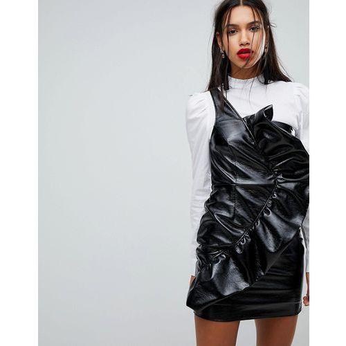 frill side bodycon vinyl mini dress - black, River island