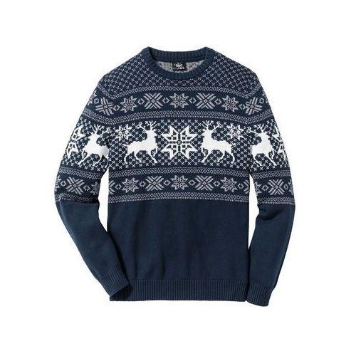 Sweter w norweski wzór Regular Fit bonprix ciemnoniebieski, bawełna