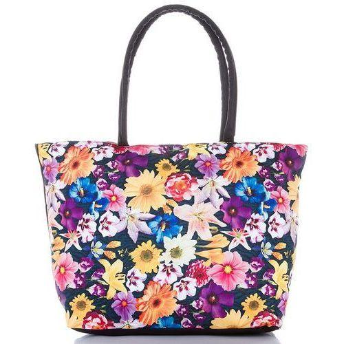 Kolorowa torba plażowa wiosenne kwiaty - czarny ||niebieski ||czerwony ||biały ||pomarańczowy ||żółty ||fioletowy ||wielokolorowy ||wielobarwny marki Loren