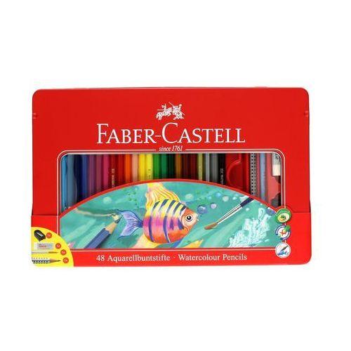 Kredki akwarelowe 48kol +gumka+ołówek+pędzelek+temperówka opak. metalowe faber marki Faber castell