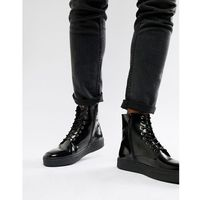 cupsole lace up boots in black high shine - black, Zign