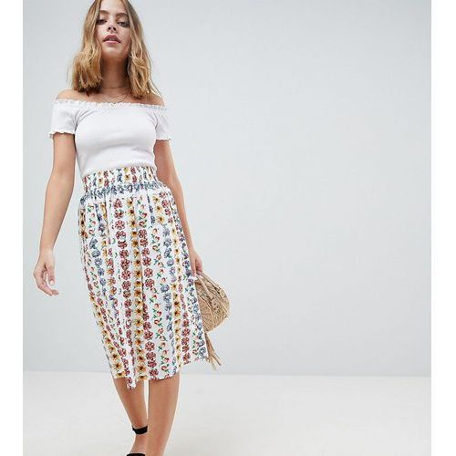 cotton midi skirt with button front in floral print - multi, Asos petite