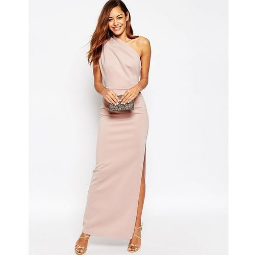 One Shoulder Maxi Dress With Exposed Zip - Pink marki ASOS