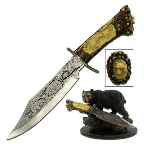 Wspaniały nóż kordzik myśliwski ze stojakiem niedźwiedź wc-31b marki Usa