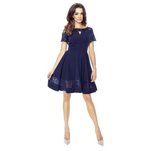 Granatowa Sukienka Elegancka Rozkloszowana z Koronką, kolor niebieski