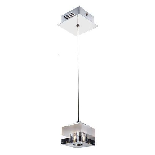 Italux Lampa wisząca cubric md9216-1a szklana oprawa halogenowa zwis kostka cube box biała przezroczysta (5900644342366)