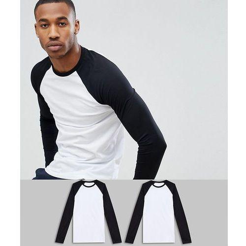 ASOS DESIGN Long Sleeve Raglan T-Shirt With Contrast Sleeves 2 Pack SAVE - Multi