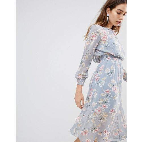 New Look Floral Shirred Waist Midi Dress - Grey, kolor szary