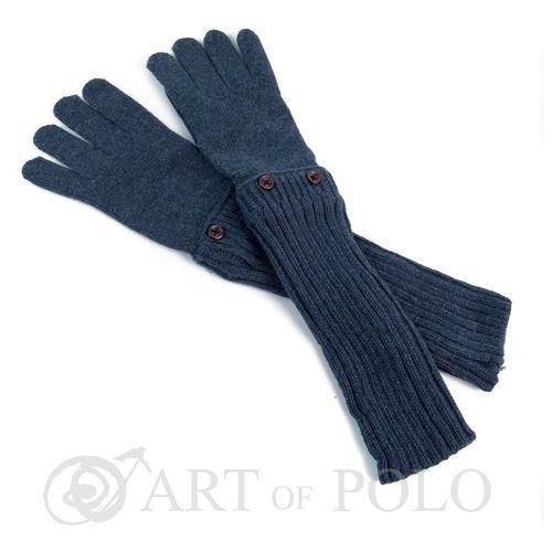 Granatowo-szare uniwersalne rękawiczki 3 w 1 długie, krótkie, mitenki - szarogranatowy marki Evangarda