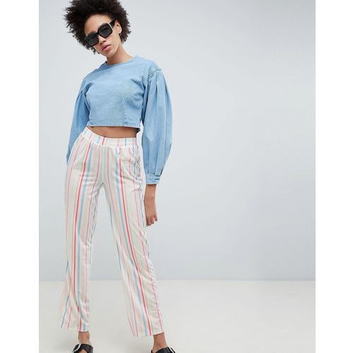 ASOS DESIGN Pull On Straight Leg Trousers In Candy Stripe - Multi