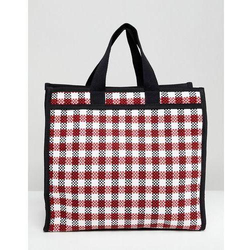 design check shopper laundry bag - red marki Asos
