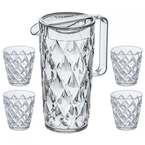 Komplet ogrodowy dzbanek 1,5l + 4 kubeczki do napojów crystal marki Koziol