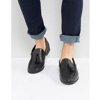 Frank wright tassel loafers in black leather - black