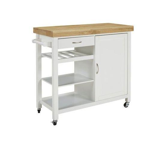 Barek kuchenny na kółkach skyler - 1 szafka z drzwiczkami i 1 szuflada - kauczukowiec marki Vente-unique