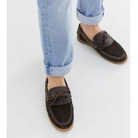 wide fit fringe boat shoe in brown - brown, Silver street