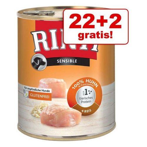 22 + 2 gratis! Rinti Sensible, 24 x 800 g - Indyk z ziemniakami (4000158920683)