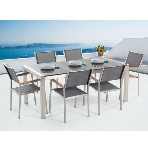 Meble ogrodowe - stół granitowy 180 cm szary polerowany z 6 szarymi krzesłami - grosseto marki Beliani