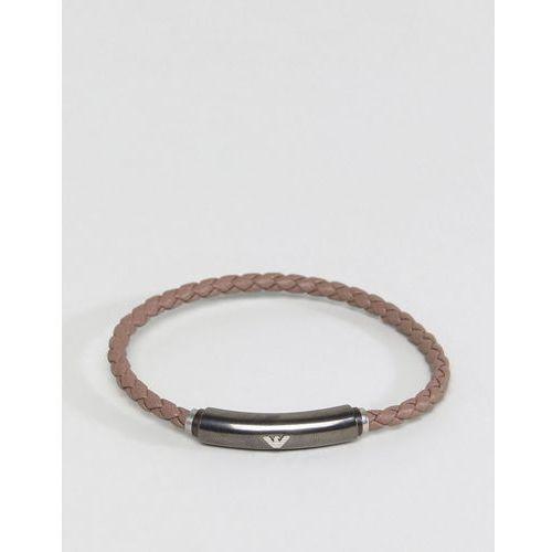 Emporio Armani Leather Bracelet In Brown - Brown, kolor brązowy