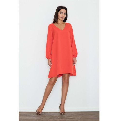 0e8cd790a8 Czerwona sukienka trapezowa z długim rękawem marki Figl