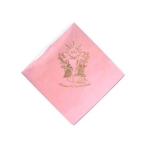 Serwetki komunijne kielich i winorośl różowe - 33 cm - 20 szt marki Gaj