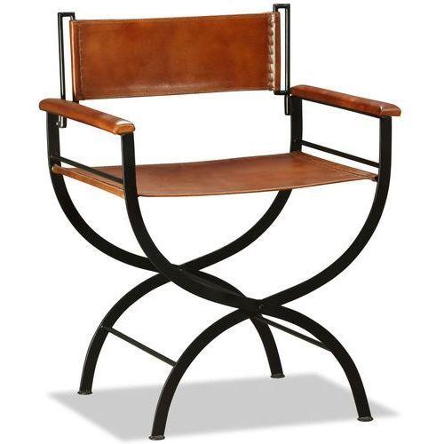 Vidaxl krzesło składane, skóra naturalna, czarno-brązowe, 59x48x77 cm (8718475531210)