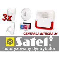 Zestaw alarmowy integra 24, klawiatura dotykowa, 3 czujniki ruchu, 1 czujnik czadu, 1 czujnik zalania, sygnalizator zewnętrzny sd-6000 marki Satel