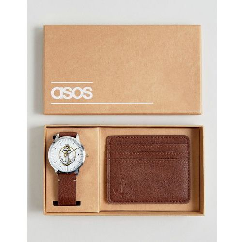 watch and card holder set with anchor design - brown marki Asos