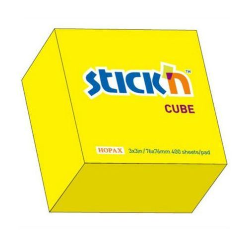 Notes samoprzylepny, 76 mm x 76 mm, żółty neonowy - 400 kartek - Hopax