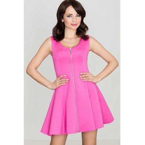 b9a0329b23 Katrus Różowa rozkloszowana sukienka bez rękawów z długim suwakiem na  przodzie