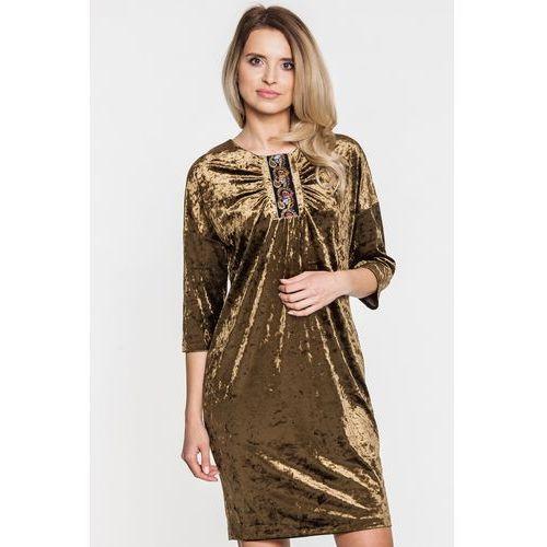 Welurowa sukienka z ozdobnym wyszyciem - Margo Collection, 1 rozmiar